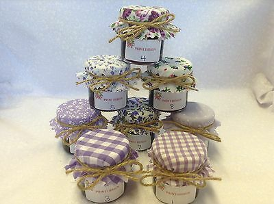 JAM Covers  FABRIC VINTAGE Wedding LILAC Mix Will Fit 1oz 1.5oz 42g Jars X 50 • 11.90£