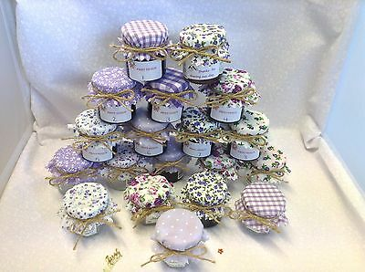JAM Covers FABRIC VINTAGE LOOK Wedding Mix LILAC Will Fit 1oz 1.5oz 42g Jars X50 • 11.90£