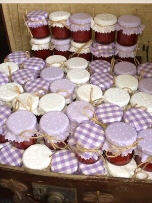 JAM Tops FABRIC VINTAGE LOOK Wedding LILAC Will Fit 1oz 1.5oz 42g Jars X 50  • 12£