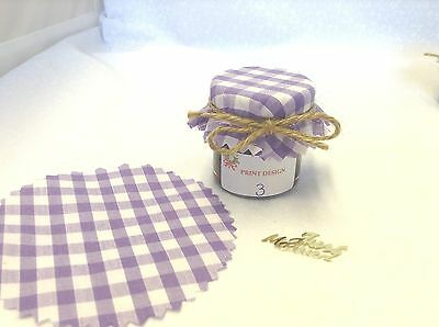 JAM Covers FABRIC VINTAGE LOOK Wedding LILAC Will Fit 1oz 1.5oz 42g Jars X50 • 11.90£