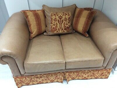 £200 • Buy Quality Tan Leather Two Seater Settee With Arm Chair And Foot Stool Matching Set