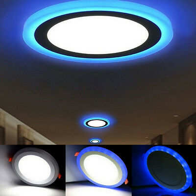 £11.95 • Buy NEW LED Round Recessed Ceiling Panel Light 18w 3 In 1 Coloured Cool White - Blue