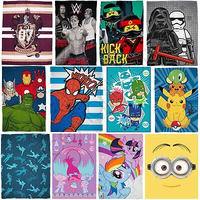 Official Kids Fleece Blankets Disney Pokemon Lego Peppa Pig Trolls Cars Wwe • 8.89£