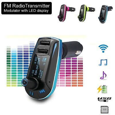 Wireless FM Transmitter Radio Car Kit MP3 Music Player & 2 USB Charger For Phone • 9.99£