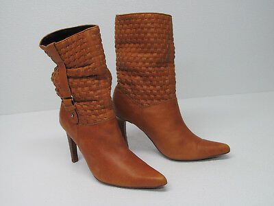 $29.99 • Buy NaNa TAN LEATHER WOVEN LEATHER ANKLE BOOTS POINTED TOE Size WOMENS 7.5 RARE