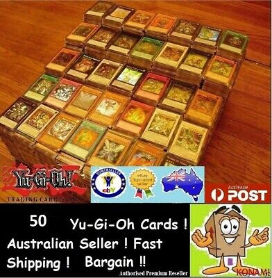 AU6.50 • Buy YuGiOh! 50 Bulk Cards Pack [5 Rares & HOLOS] BEST GENUINE KONAMI AUSTRALIA