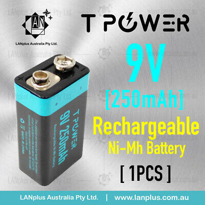 AU14.50 • Buy Tpower 9v Rechargeable Ni-Mh Battery 250mAh 2250mWh For Smoke Alarm