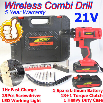 View Details 2×Battery 1500mAh 21V Electric Driver Cordless Drill LED Lithium 29PC Tool Case  • 38.10£