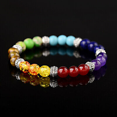 $5.49 • Buy 7 Chakra Natural Stone Reiki Energy Healing Women Men Charm Bracelets Jewelry