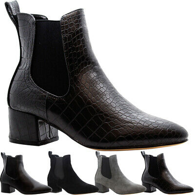 £13.95 • Buy Ladies Ankle Chelsea Boots Womens Studs Mid Block Flared Heels Office Shoes Size