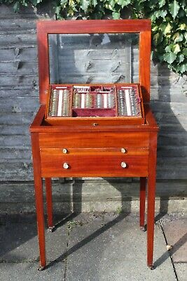 Antique Opticians Display Case Drawers Mahogany Chest Eye Test Lens Optometrist  • 295£