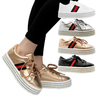 Ladies Women Diamante Platform Lace Up Flat Sneakers Running Trainers Shoes Size • 13.95£