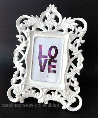 Modern Rococo Photo Frame Gloss White Open Leafy Scrolls For 4x6 Picture New • 14.51£