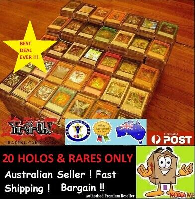 AU7.50 • Buy YuGiOh! [ 20 Rares & HOLOS ONLY ] Bulk Cards Pack  GENUINE KONAMI