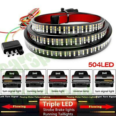 $41.55 • Buy 60  TRIPLE LED Tailgate Light Bar STROBE BRAKE DRL Sequential Turn Signal Strip
