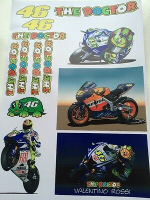 Valentino Rossi Stickers - Large Decal Sticker Kit (A4 SIZE SHEET) Moto Gp • 5.99£