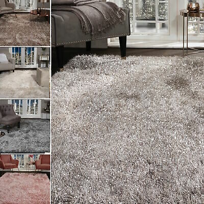 Shaggy Rug SHIMMER SPARKLE GLITTER 5.5cm Thick Soft Pile Large Living Room Rugs • 20.99£