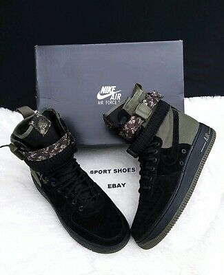 online retailer 3470f 694d6 Size 10 Men s Nike 864024 004 Sf Af1 Air Force One Black Camo Boots  Sneakers •