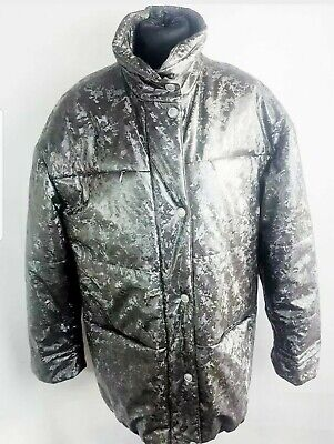 £13.99 • Buy Hucke...Thick Quilted WOOL Lined Coat Size 10/12 Warm Winter Pewter/silver VGC