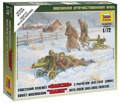 Zvezda 1/72 Soviet Maxim Machine Gun With Crew Winter 1941 - 1943 Z6220 • 4.95£