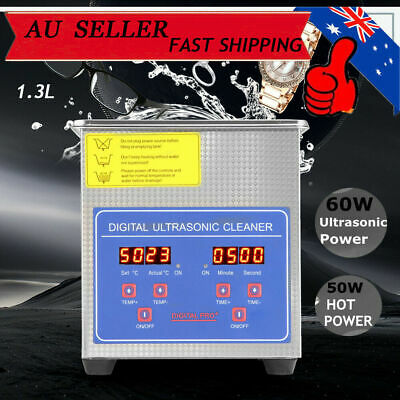 AU73.85 • Buy 1.3L 50W Ultrasonic Cleaner Stainless Steel Heater Timer Industrial Grade Cover