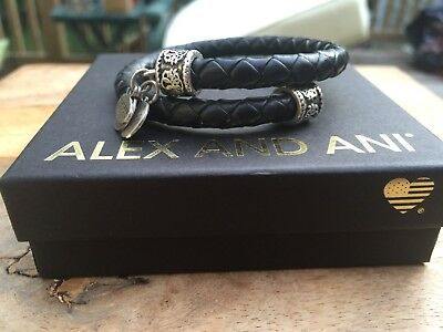 ALEX And ANI VINTAGE 66 Indie Spirit EBONY Braided LEATHER Path Of Life WRAP • 42.68£