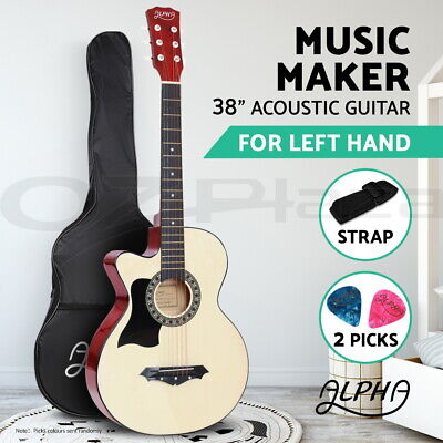 "AU72.90 • Buy Alpha 38"" Left Handed Acoustic Guitar Wooden Folk Classical Cutaway Steel String"