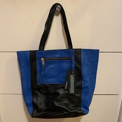 M&S Autograph Genuine Leather Blue & Black Bag • 33£