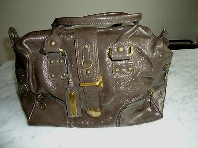 RUSSELL & BROMLEY Patent Brown Leather Medium Bag • 68£