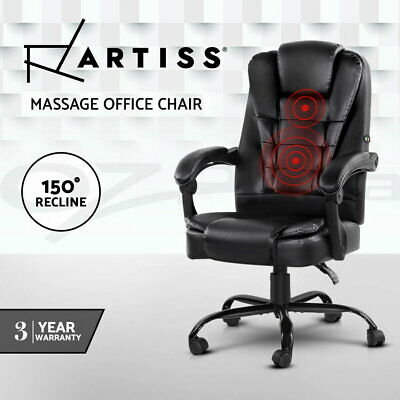 AU141.95 • Buy Artiss Massage Office Chair Gaming PU Leather Recliner Computer Chairs Black