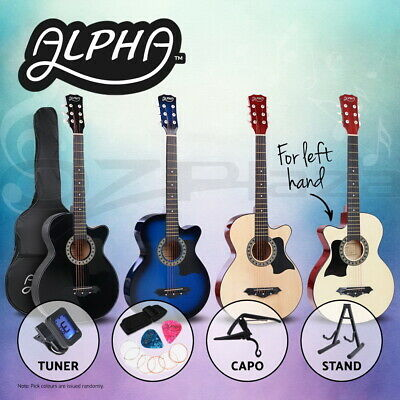 "AU93.95 • Buy Alpha 38"" Inch Acoustic Guitar Classical Wooden Folk Strings Capo Left Handed"