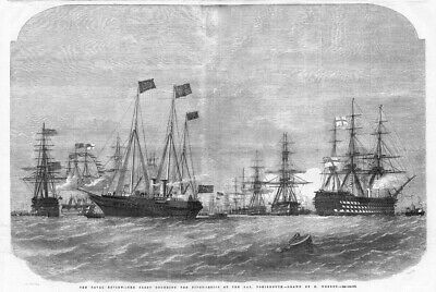 NAVAL REVIEW Fleet Rounding Pivot Ships At The Nab Portsmouth-Antique Print 1856 • 16.95£