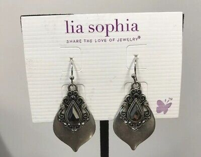 $ CDN21.77 • Buy New! Lia Sophia  Posh  Matte Silver Tone Earrings W/Cut Crystals & Resin