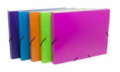 £8.95 • Buy 2 X Neon A4 Elasticated Box File Document Wallet Paper Storage Folder - Assorted