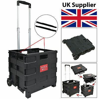 Black Folding Boot Cart Shopping Holiday Trolley Storage Box Crate Foldable 25kg • 15.99£