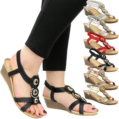 Women Flat Diamante Shoes Platform Peep Toe Mid Wedge Ladies Summer Sandals Size • 9.95£