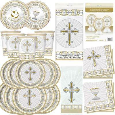 Boys Girls 1st First Holy Communion Party Tableware Decorations Royal GOLD White • 3.49£