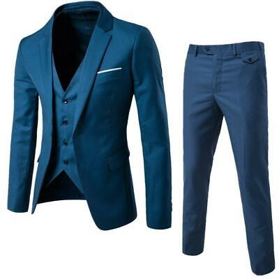 $ CDN108.85 • Buy 3pcs Mens Slim Fit Tuxedo Three Pieces Coat Vest Pants Formal Wedding Dress Suit