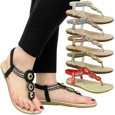 £11.95 • Buy Womens Flat Comfy Toe Post Strap Party Shoes Ladies Diamante Summer Sandals Size