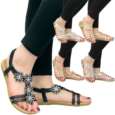 £9.95 • Buy Womens Flat Diamante Shoes Comfy Strap Peep Toe Bling Ladies Summer Sandals Size