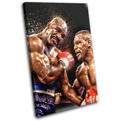 Mike Tyson Evander Holyfield Boxing Sports SINGLE CANVAS WALL ART Picture Print • 19.99£