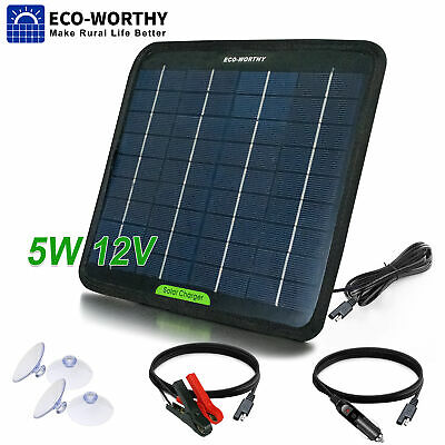 AU24.99 • Buy 5 Watt Solar Panel Battery Charge Kit 5W 12V Trickle Charger For Boat Caravan RV