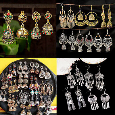AU2.67 • Buy Retro Ethnic Indian Bollywood Jhumka Gypsy Crystal Tassel Drop Earrings Jewelry