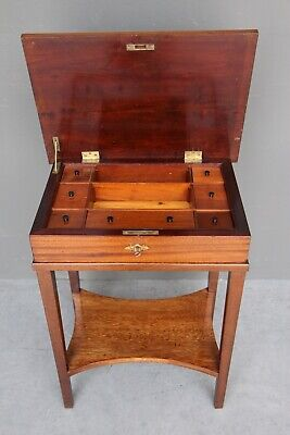 AU885 • Buy Antique Scandinavian Jewellery Table Sewing Table Sheraton Bedside Mahogany 1880