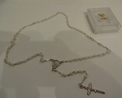 £6.99 • Buy Catholic Childs Pearls Crucifix & Rosary In Plastic Box