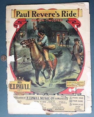 $9.99 • Buy 1910 E.T.Paull Paul Revere's Ride March-Twostep Sheet Music-Beautiful Graphics!*