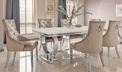 £899.99 • Buy Marble Top & Polished Chrome Legs Luxury Cream Dining Table Lounge Dining