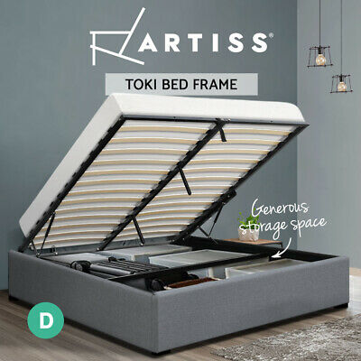 AU229.95 • Buy Artiss Bed Frame Double Size Gas Lift Base With Storage Platform Fabric