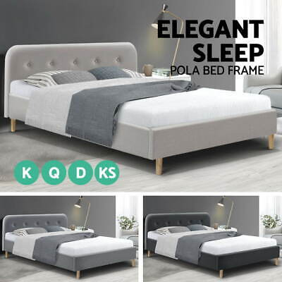 AU89.95 • Buy Bed Frame Queen Double King Single Size Mattress Base Fabric Wooden Pola