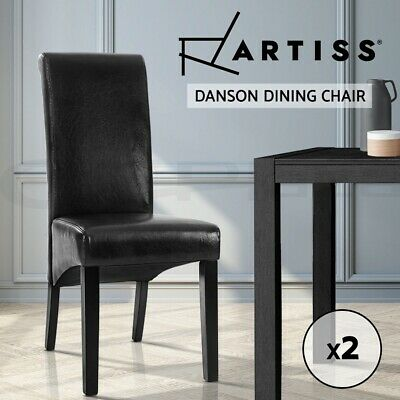 AU129.95 • Buy Artiss 2x Dining Chairs Leather Pad High Back Chair Wood Kitchen Cafe Black